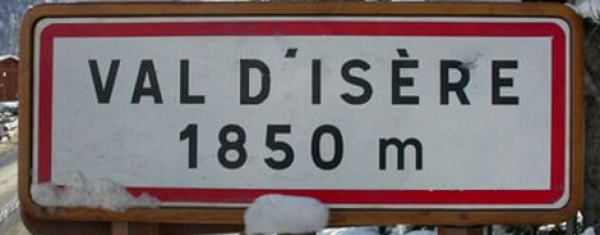 Val d'Isere road sign 1850m